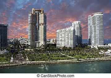 miami, u.s.a., edificios, playa, colores
