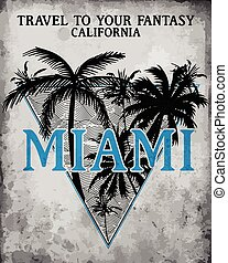 Miami - vector illustration concept in vintage graphic style for t-shirt and other print production. Palms; wave and sun vector illustration. Design elements.