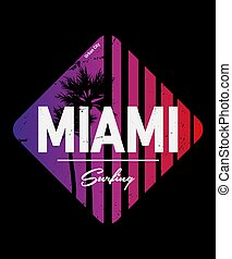 Miami - vector illustration in vintage graphic style for t-shirt and other print production. Palms, wave and sun creative logo badge. Summer vacation concept. Design elements