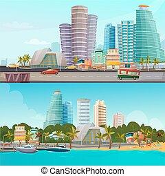 miami, waterfront, bandeiras, jogo, caricatura