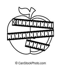 miara, taśma, jabłko, ikona