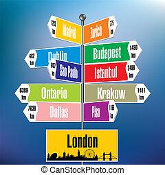 miasta, londyn, drogowskaz