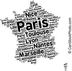 miasta, od, francja, słowo, chmura