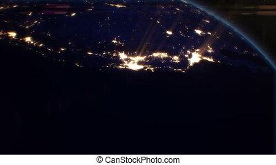 miasta, satellite., na, noc