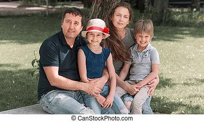 miasto, ława, dzieci, rodzina, posiedzenie