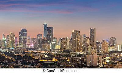 miasto, śródmieście, sylwetka na tle nieba, panorama