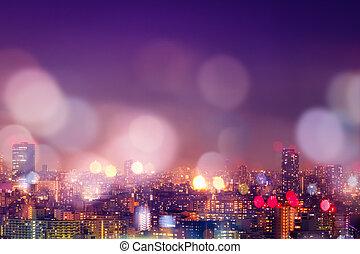 miasto, życie nocne, bokeh, tło, plama