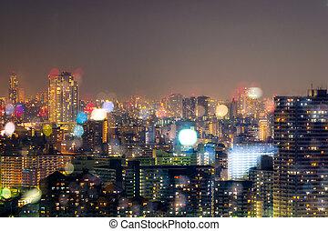 miasto, życie nocne, plama, bokeh, tło