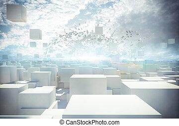 miasto, 3d, futurystyczny, przedstawienie