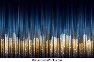 miasto, abstrakcyjny, lines., ilustracja, noc