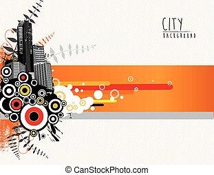 miasto, abstrakcyjny, scape., szablon, ilustracja