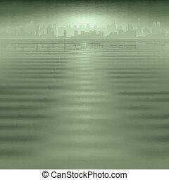 miasto, abstrakcyjny, sylwetka, tło
