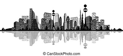 miasto, abstrakcyjny, sylwetka