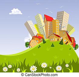 miasto, abstrakcyjny, wektor, -, lato