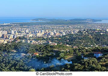 miasto,  (albania), Górny,  vrore, rano, Prospekt
