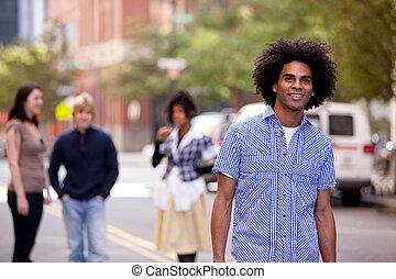 miasto, amerykańska ulica, pociągający, afrykański samczyk