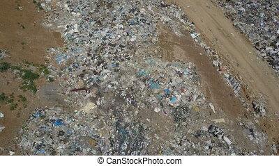 miasto, antena, dump., odpadki, prospekt