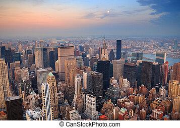 miasto, antena, sylwetka na tle nieba, york, nowy,...