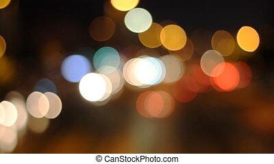 miasto, atmosfera, miejski, kolor, rocznik wina, abstrakcyjny, struktura, światła, bokeh, ulica, defocused, tło, wóz, noc, albo, retro
