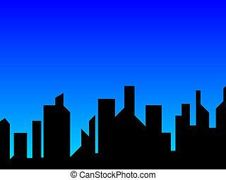 miasto, błękitny
