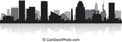 miasto baltimore, skyline przedstawią w sylwecie