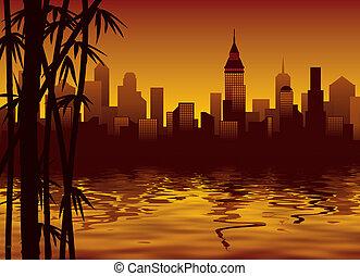 miasto, bambus