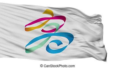 miasto, bandera, porcelana, odizolowany, kaohsiung
