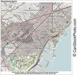 miasto, barcelona, hiszpania, mapa
