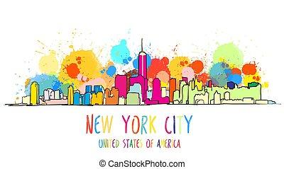 miasto, barwny, drawing., sylwetka na tle nieba, york, nowy
