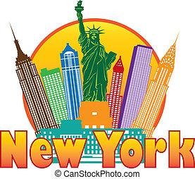 miasto, barwny, ilustracja, sylwetka na tle nieba, york,...