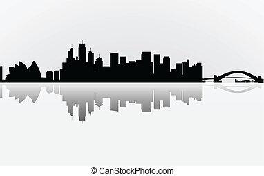 miasto, barwny, sydney, panorama