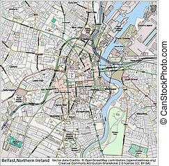 miasto, belfast, północna irlandia, mapa