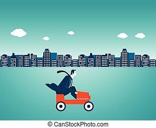miasto, biznesmen, napędowy, wóz