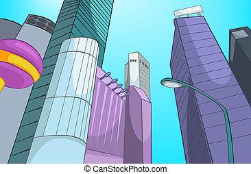 miasto, cartoon.