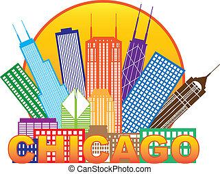 miasto, chicago, kolor, ilustracja, sylwetka na tle nieba, ...