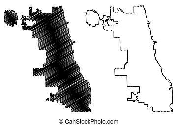 miasto, chicago, mapa