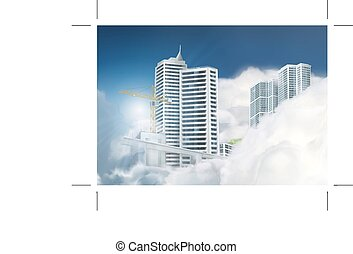 miasto, chmury