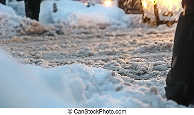 miasto, ciężki, środek, snowing, crossroads, znowu