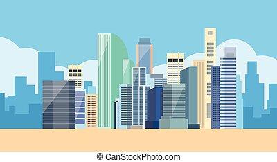 miasto, cielna, nowoczesny, sylwetka na tle nieba,...