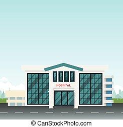 miasto, city., szpital, nowoczesny, niebo, scena, wektor, ulica, tło, główny kanał, illustration.hospital
