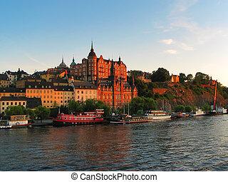 miasto, cityscape, szwecja, stary, sztokholm