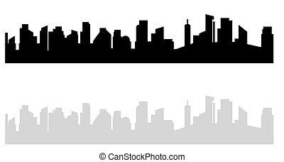 miasto, cityscape., wektor, drapacze chmur, town., dom, nowoczesny, odizolowany, ilustracja, wysoki, szary, czarne tło, cielna, ciemny, biały, miejski, prospekt