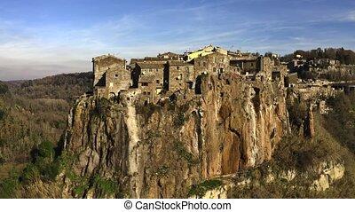 miasto, comune, włochy, calcata, wysoki, skała, strzał,...