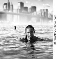 miasto, człowiek, tło, ocean