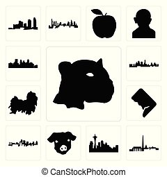 miasto, dc, komplet, jaguar, ikony, twarz, kansas, dc, minneapolis, świnia, tzu, sylwetka na tle nieba, tło, biały, sylwetka na tle nieba, seattle, shih