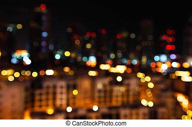 miasto, defocused, światła