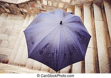 miasto, deszcz