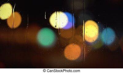 miasto, deszczowy, abstrakcyjny, noc, tło, plama