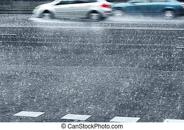 miasto, deszczowy, napędowy, wozy