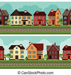 miasto, domy, brzegi, seamless, chaty